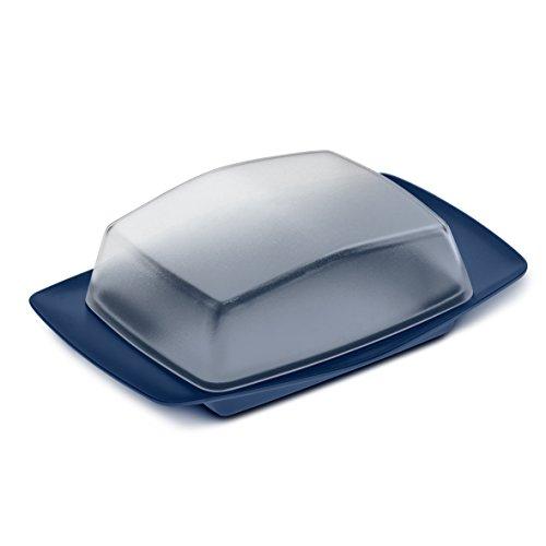 Koziol 3619397 Rio Butterdose, Thermoplast, Crystal Clear/Deep Velvet Blue