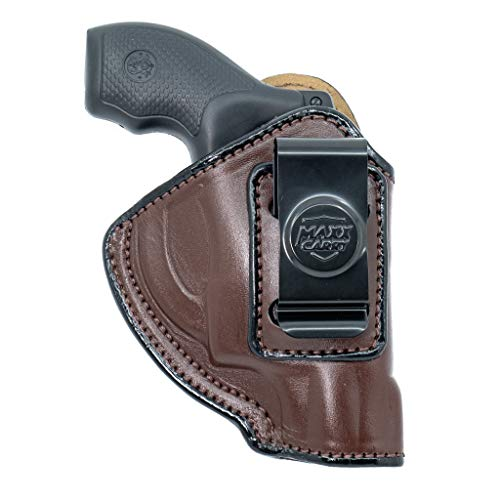 Maxx Carry IWB Leather Revolver Holster for Ruger LCR, LCRx, SP101 | S&W Bodyguard 38 Special, M&P 340 | Taurus 85, 605, 856 and Other Snub Nose Revolvers, Brown, Right Hand Draw
