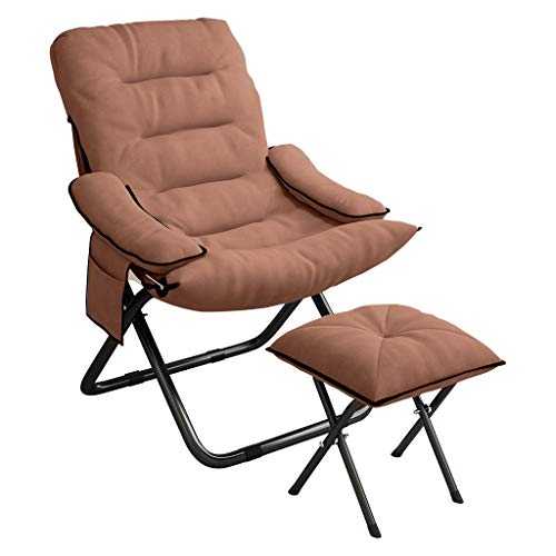 Folding Sleeper Chair, Adjustable Sofa Arm Chair Guest Bed, 3 Position Recliner Single Person Sleeper with Pillow & Bench Lounger Camping Office Nap Couch Bed (Brown)