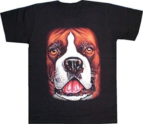Biker T-Shirt Deutscher Boxer Hund Dog beidseitig Bedruckt (XL)