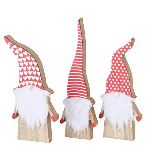 RiloStore 3er Set XL WICHTEL Weihnachtsmann 27cm !! Nikolaus Kurt nr3551 rot Weiss 3 STK! Weihnachtsmänner Wichtelkinder Deko Holzfiguren Tischdeko Weihnachten