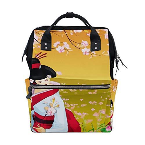 DEZIRO Canvas Japanse Geisha Met Sakura Daypack voor Vrouwen Rugzakken