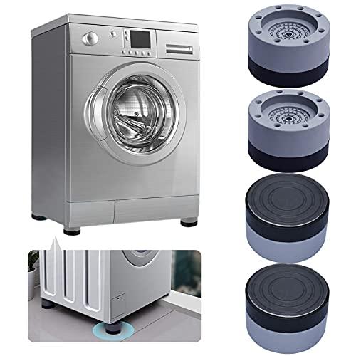 Waschmaschine Fußpolster,Vibrationsdämpfer Stoßfest Anti Rutsch für Anti-Vibrations- und Anti-Walk-Waschmaschine und Trockner, rutschfeste Matte mit Gummi-Technologie 4cm (4 STÜCKE Grey, 4cm)