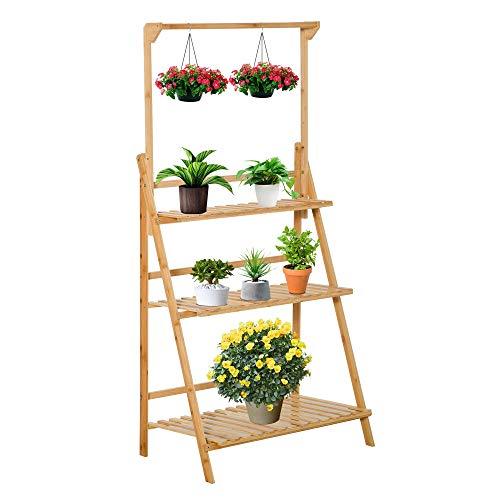 Outsunny Blumentreppe aus Holz Pflanzenständer Leiterregal einstellbare Hängehöhe Blumenständer hängende Bamboo Natur innen draußen 70 x 40 x 143 cm