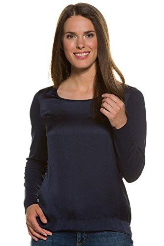 GINA LAURA Damen bis Größe 3XL | Sweatshirt | Blusenshirt mit Satinglanz | Langarm, U-Boot Ausschnitt | Materialmix | Navy L 708125 71-L