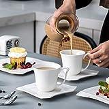MALACASA, Serie Amparo, 18 teilig Set Porzellan Kaffeeservice Dessertteller Kaffeetasse mit Untertasse für 6 Personen - 7