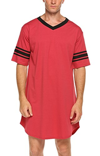 Ekouaer Men's Nightshirt Cotton Nightwear Comfy Big&Tall V Neck Short Sleeve Soft Loose Pajama Sleep Shirt,Men-red,Medium