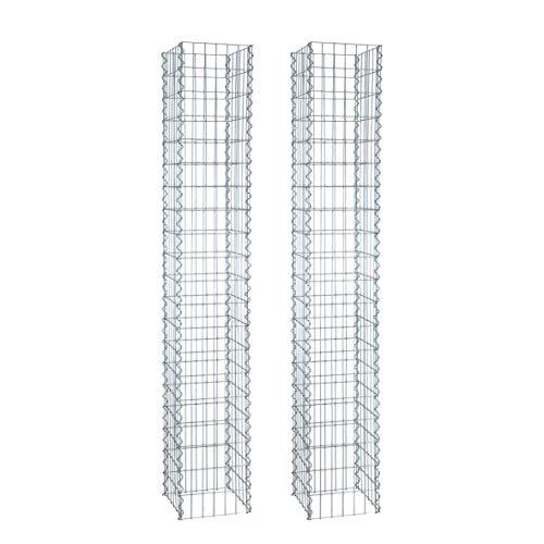 ESTEXO Gabionen-Säulen im 2er Set, 4-Eck 30x30 cm, 200 cm Höhe, inklusive Spiralen