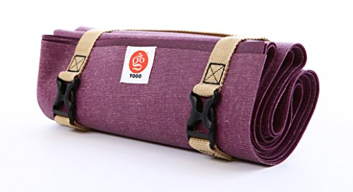 YOGO Ultralight Travel Yoga Mat, Folding With Integrated Straps And Handle For Carry And Wash (Plum10)