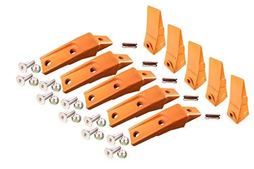 5 - Bobcat Style Skid Steer Bucket Teeth w/Bolt On Shanks, Pins, Hardware