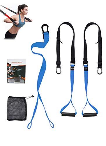 Schlingentrainer Sling Trainer Schlingentraining Set mit Türanker Einstellbar Fitness Zuhause Suspension - Bänder Training Fitness Geräte für Zuhause und Außenbereich(blue)