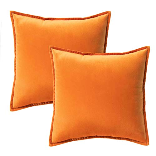 Bedsure Velvet Cushion Cover 2 Pack Orange Decorative Pillowcases for Sofa and Couch, 45cm x 45cm (18in x 18in)