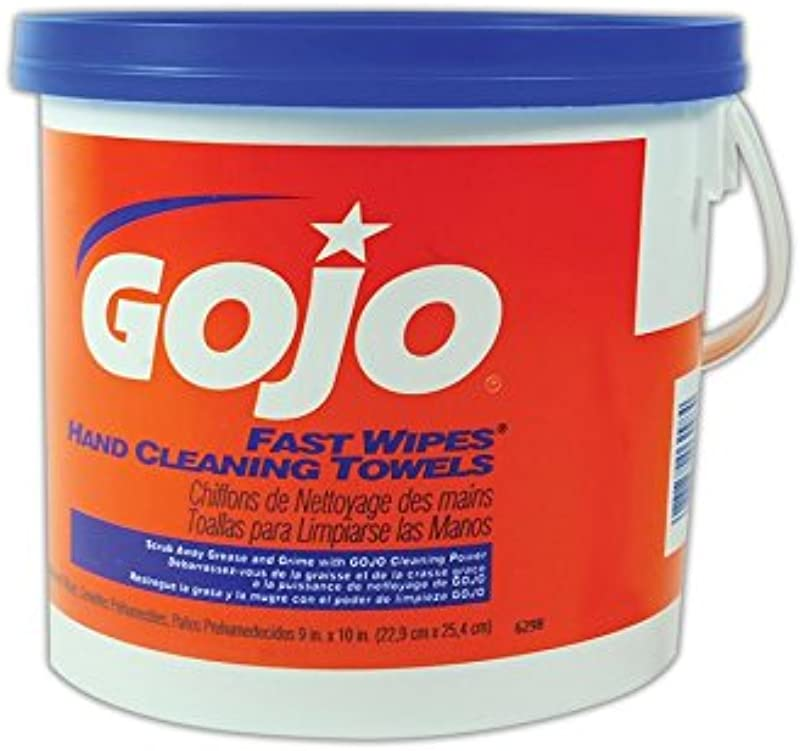 GOJO 6298 04 Gojo Fast Wipes Hand Cleaning Towels Orange Blue White 130 Wipes Pack Of 520