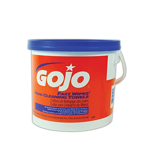 GOJO 6298-04 Gojo Fast Wipes Hand Cleaning Towels, Orange/Blue/White, 130 Wipes (Pack of 520)