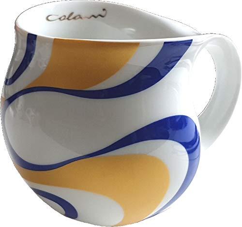 """Luigi Colani dekorierte Kaffeetasse Becher Tasse Cappuccinotasse Kaffeebecher """"Gold&Color"""" Wave Gold & Blue 280 ml"""