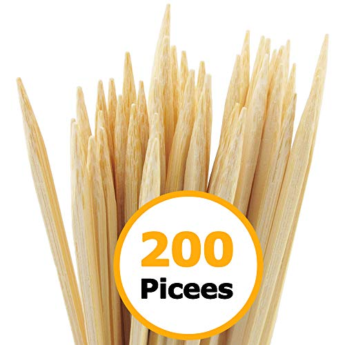 """HOPELF 200 Pieces 8"""" Natural Bamboo Skewers (0.16Inch/4mm Diameter) for Barbecue, Grill, Shish Kabob, Appetiser, Fruit, Corn, Chocolate Fountain, Cocktail, BBQ, Party"""