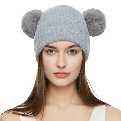 Dikoaina Winter Chunky Knit Double Fur Pom Pom Beanie Hat for Women Girls - Grey - One Size