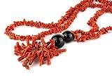 Collar largo con fragmentos de coral rojo del Mediterráneo y ágata negra