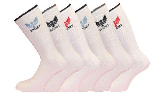 Lot de 3 paires de chaussettes Crown Sport - Pour homme - Rembourrées, nervurées et avec talon renforcé - Blanc - 39-45