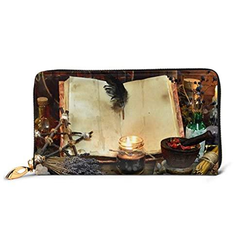 Ahdyr Mode Handtasche Reißverschluss Brieftasche Altes Hexenbuch Leere Seiten Lavendel Telefon Kupplung Geldbörse Abendkupplung Blockieren Leder Walle