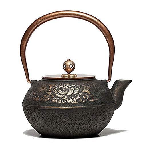 BXU-BG Tetera saludable de hierro fundido no revestida japonesa hecha a mano para hervir tetera de 1200 ml, parte inferior plana (color: negro, tamaño: 1200 ml)