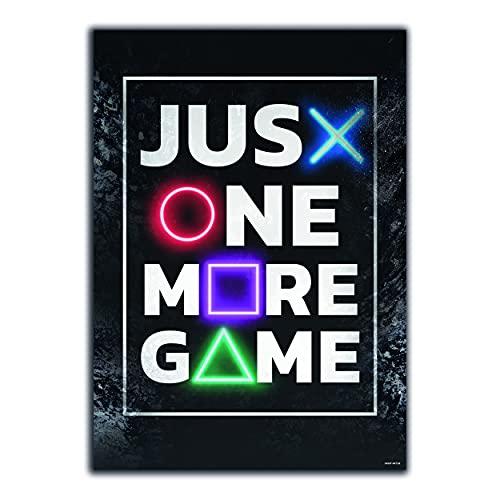 GREAT ART® Gaming Póster Negro Rojo - Just One More Game - Botones Motivación Juventud Adolescente Gamer Decoración hogar Pared de fotos (Din A2 42 x 59,4 cm)