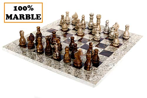 RADICALn 15 Inches Fossil Coral and Dark Brown Weighted Handmade Marble Most Popular Chess Board Games Set - Classic… 3