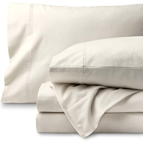 Bare Home Flannel Sheet Set 100% Cotton, Velvety Soft Heavyweight - Double Brushed Flannel - Deep Pocket (Queen, Ivory)