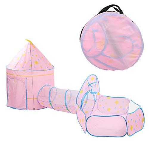 WNSC Tienda de Juegos sociales de 3 Piezas, túnel de Gateo para niños con Piscina de Bolas, para Aventuras de Fondo para niños pequeños(Pink Three-Piece Suit)