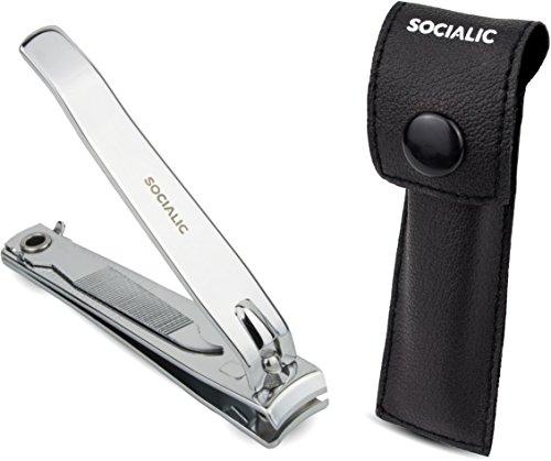 Socialic® PREMIUM Nagelknipser Set inkl. Etui und Nagelfeile - Extra scharfer Nagelzwicker - Nagelschneider für scharfen & glatten Schnitt - Perfekt für Finger- und Fußnägel - Hochwertige Qualität