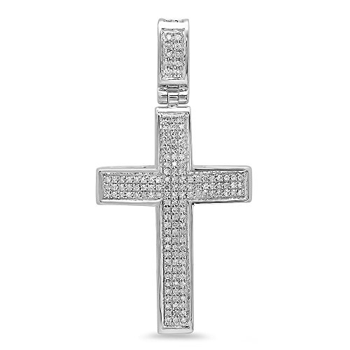 Dazzlingrock Collection Colgante de cruz de oro de 14 quilates con diamantes redondos de 0,48 quilates (cadena de plata incluida)
