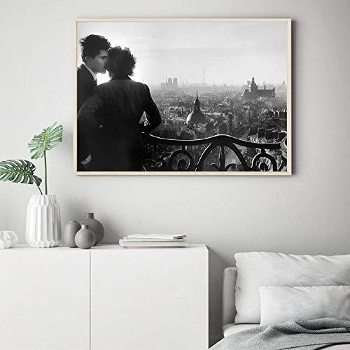 WJY Die Liebhaber der Bastille Musical Poster Drucke Willy Ronis 1957 Fotografie Schwarz und Weiß Bild Leinwand Malerei Wand Decor 60cm x90cm Kein Rahmen