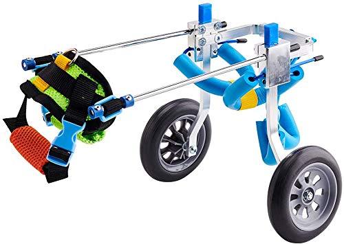 Carrito de ruedas para mascotas, ajustable del perro casero de ruedas carro de perros discapacitados Asistida Paseo de coches para mascotas Hind ejercicio de piernas de coches para las piernas,XXS