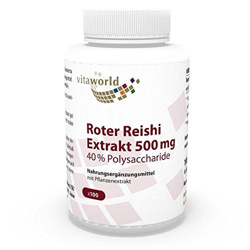 Extracto de Reishi Rojo Premium 500mg 40% Polisacáridos 100 Cápsulas Vita World Farmacia Alemania Hongo