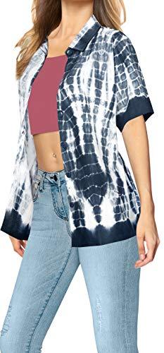 LA LEELA Lazo de algodón Playa Tinte botón de la Blusa de Camisa Hawaiana Mujeres Negro Ghosts Blanco