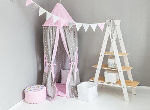 KempKids Baldaquin Lit Tente Enfants gamins Dôme Coton Moustique Net Jouer Tente Bien pour Bébé Taille: 70 x 215 cm L'étoile grise