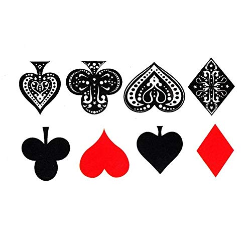 EROSPA® Tattoo-Bogen / Sticker temporär - Poker - Herz, Pik, Karo, Kreuz