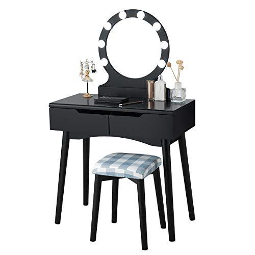 COSTWAY Schminktisch mit LED Beleuchtung, Make-up Tisch, Frisiertisch Holz, Frisierkommode, Kosmetiktisch mit beleuchtetem Spiegel und Hocker, Schminkkommode mit 2 Schubladen (Schwarz)