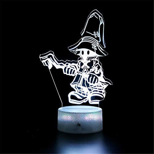 Lámpara de ilusión 3D, controlador de luz nocturna Final Fantasy 16 colores cambiantes lámpara de escritorio para niños Navidad cumpleaños regalos decoración del hogar