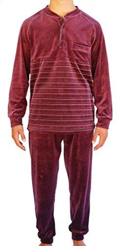 Algodonea - Pijama Caballero Terciopelo Color Berenjena