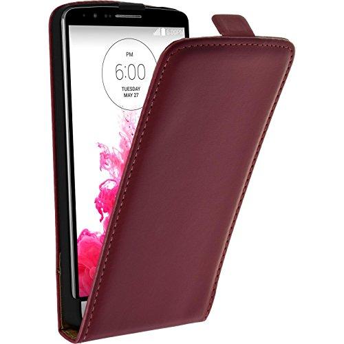 PhoneNatic Kunst-Lederhülle kompatibel mit LG G3 - Flip-Hülle pink + 2 Schutzfolien