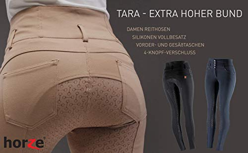 Product Image 4: HORZE Women's Tara Full Seat Silicone Grip Breeches, Stretchable, Extra High Waist
