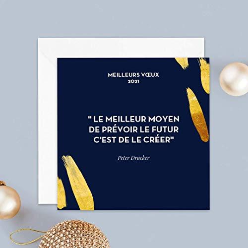 Carte de voeux 2021 • Citations Voeux • Lot de 16 Cartes • Papier haut de gamme • 16 Enveloppes Blanches Autocollantes • 14x14 cm Pliée • Idéal pour souhaiter la Bonne Année • Popcarte