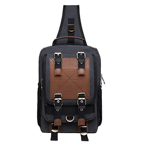 KAUKKO Canvas Messenger Bag Cross Body Shoulder Sling Backpack Travel Hiking Chest Bag (252-3-Black)