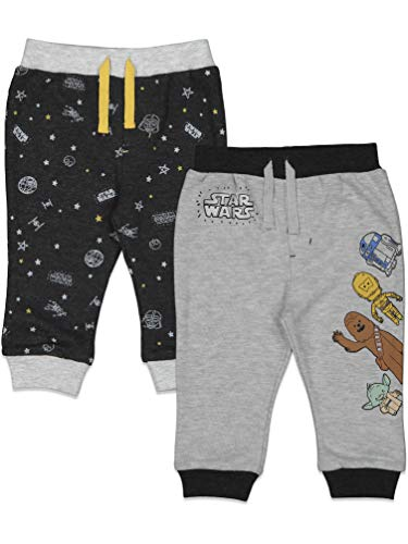 Star Wars Baby Yoda Chewbacca R2-D2 C-3PO Baby Boys 2 Pack Pant Set 6-9 Months Grey