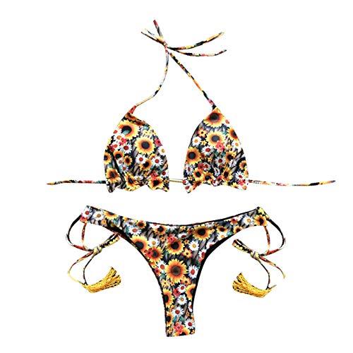ZAKIO Fashion Casual Swimwear for Ladies, Women Trendy Print Bikini Strappy Bra Thong Set Swimsuit Beachwear Pool Party Yellow