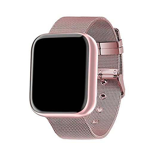 Tuimiyisou Reloj Elegante Y68 Fitness Sport SmartWatch y Tiras de Acero Control de Actividad con la presión Arterial del Ritmo cardíaco Hombres Mujeres Rosa Totalmente Adaptado
