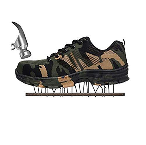 Chaussures De Sécurité pour Hommes De Sport Trekking Sportif Bottes De Randonnée Toe De Travail en Acier Chaussures De Randonnée Traillaufschuhe,Green,44EU