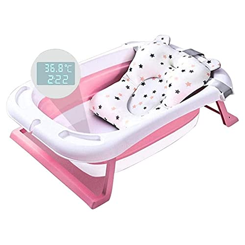 Sits Bañera Plegable bañeras de natación para bebés Cuerpo de baño con Alfombra de Soporte para Asiento de bañera Almohadilla para bañera de Ducha para bebés, medición de Temperatura en Tiempo