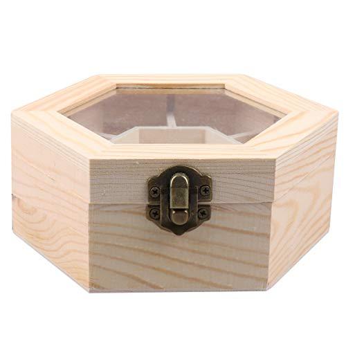 EXCEART Unvollendete Schmuckschatulle Sechseckige Antike Schmuck Aufbewahrungsbox Veranstalter Schmuck Truhenhalter Behälter Geschenkbox für Ringohrring Schmuck Aufbewahrung